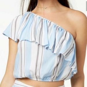 Seventeen Juniors One-Shoulder Crop Top Bl…